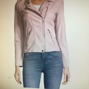 Leather Moto Jacket , lavender